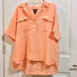 J.CREW 12 Orange Linen Hi/Lo Pullover Blouse NWOT